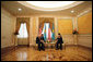 Vice President Dick Cheney talks with Kazakh President Nursultan Nazarbayev in a one-on-one meeting at the Presidential Palace in Astana, Kazakhstan, Friday, May 5, 2006. The two leaders discussed democratic pursuits, energy production, trade and Kazakhstan's developing role in Central Asia relations. White House photo by David Bohrer