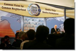 "Vice President Dick Cheney delivers the keynote speech Thursday May 4, 2006, at the Vilnius Conference 2006 in Vilnius, Lithuania. In his remarks the Vice President spoke of the story of democracy that has been written over the last two decades in the Baltic and Black Sea regions. ""This great story has been repeated many times in the course of a generation, enhancing the lives of millions, and lifting the hopes of millions more,"" he said , adding, ""With the consolidation of democracy, and the expansion of NATO and the European Union, countries that once were rivals have become partners.""  White House photo by David Bohrer"
