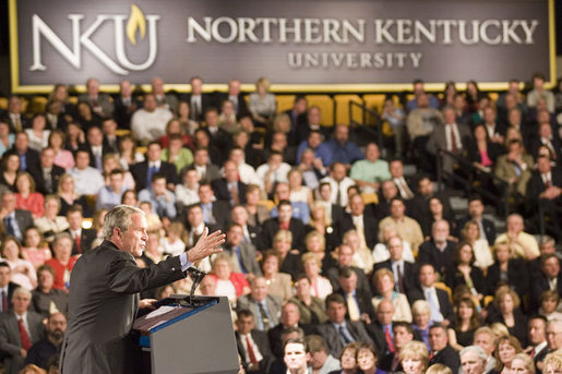 President George W. Bush gestures as he addresses his remarks on the American Competitiveness Initiative to an audience at Northern Kentucy University, Friday, May 19, 2006 in Highland Heights, Ky. White House photo by Kimberlee Hewitt