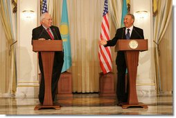"""Vice President Dick Cheney and Kazakh President Nursultan Nazarbayev speak to the press following their meeting at the Presidential Palace in Astana, Kazakhstan, Friday, May 5, 2006. In his remarks the Vice President said, """"The vision we affirm today is a community of sovereign states that grow in liberty and prosperity, trade and freedom and strive together for a century of peace. Standing in this modern capital city, I am proud to affirm the strong ties between Kazakhstan and the United States."""" White House photo by David Bohrer"""