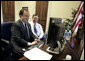 """Outgoing White House Press Secretary Scott McClellan and his brother Medicare and Medicaid Services Administrator Mark McClellan answer questions on,""""Ask The White House,"""" Wednesday, May 10, 2006. White House photo by Eric Draper"""