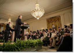President George W. Bush and British Prime Minister Tony Blair participate in a joint news conference, Thursday, May 25, 2006 in the East Room at the White House. The two leaders voiced their support for the newly elected unity government in Iraq. White House photo by Eric Draper