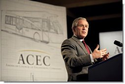 """President George W. Bush addresses the American Council of Engineering Companies in Washington, D.C., May 3, 2006. """"Most new jobs in America are created by small businesses, and when the small business sector is strong, it means people are going to find work,"""" said President Bush. """"The number of Hispanic-owned businesses is growing at three times the national rate, and that's a positive development."""" White House photo by Eric Draper"""