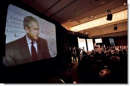 """President George W. Bush addresses the American Council of Engineering Companies in Washington, D.C., May 3, 2006. """"Part of creating a wealth in which -- an environment in which the entrepreneurial spirit is strong is to let people have more of their money; is to unleash the great creative talent of the American people,"""" said the President. """"And that's what we did. I worked with Congress to cut the taxes on everybody who pays taxes."""" White House photo by Eric Draper"""