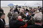 President George W. Bush greets families and personnel at Vance Air Force base in Enid, OK on Saturday May 6, 2006. White House photo by Paul Morse