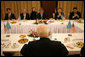 Vice President Dick Cheney participates in a breakfast meeting with representatives of Kazakhstani opposition groups Saturday, May 6, 2006, in Astana, Kazakhstan. During the meeting the political leaders shared their ideas regarding political and economic reform and the advancement of democracy in Kazakhstan. White House photo by David Bohrer