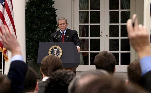 President George W. Bush holds a press conference in the Rose Garden Tuesday, Oct. 28, 2003. White House photo by Paul Morse.