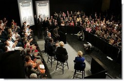 President George W. Bush participates in a conversation on health care and community health centers at Youngstown State University in Youngstown, Ohio, Tuesday May 25, 2004.  White House photo by Paul Morse