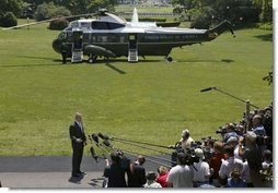 "President George W. Bush makes a statement to the press about the killing of U.S. civilian Nicholas Berg on the South Lawn Wednesday, May 12, 2004. ""I want to express my condolences to the family and friends of Nicholas Berg. Nicholas Berg was an innocent civilian who was in Iraq to help build a free Iraq. There is no justification for the brutal execution of Nicholas Berg -- no justification whatsoever,"" said the President.  White House photo by Eric Draper"