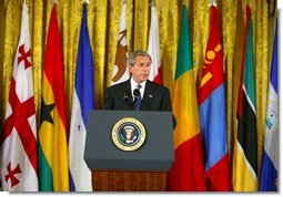 President George W. Bush announced the 16 countries selected for the Millennium Challenge Account during a White House ceremony in the East Room Monday, May 10, 2004  White House photo by Paul Morse
