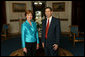 Laura Bush, Honorary Ambassador for the Decade of Literacy, poses with UNESCO's Assistant Director General for Culture Mounir Bouchenaki in the Blue Room of the White House Wednesday, May 12, 2004. White House photo by Tina Hager