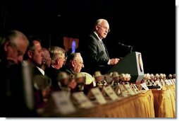 """Vice President Dick Cheney delivers remarks at the 16th Annual National Fire and Emergency Services Dinner at the Washington Hilton in Washington, D.C., Wednesday, May 5, 2004. """"We must support our nation's firefighters and emergency personnel, because the demands of your job are greater than ever. You are prepared, after all, for the millions of calls that must be answered every year. And in this period of testing for America, every firefighter knows that the next alarm could be a terrorist attack. You have always been essential to the security of our communities, and now you are essential to the defense of our homeland."""" said the Vice President in his remarks.  White House photo by David Bohrer"""