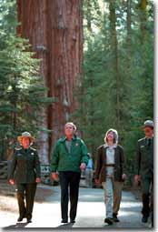President Bush tours the Giant Forest Museum in Sequoia National Park Wednesday, May 30. WHITE HOUSE PHOTO BY PAUL MORSE