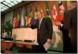 President George W. Bush addresses the Council of Americas Monday, May 7. WHITE HOUSE PHOTO BY ERIC DRAPER