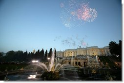 Fireworks explode over Peterhof Palace in St. Petersburg, Russia May 31, 2003 as part of St. Petersburg's 300th anniversary celebration which the President and Mrs. Laura Bush took part in.  White House photo by Paul Morse