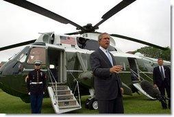 President George W. Bush condemns the bombing in Jerusalem upon his departure from Grant Park in Chicago Wednesday, June 11, 2003. The President visited Chicago to address the Illinois State Medical Society.   White House photo by Paul Morse