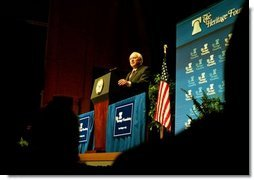 """Vice President Dick Cheney talks about Medicare and health care at the American Association of Health Plans' annual meeting in Washington, D.C., June 13, 2003. """"We seek a health care system where all Americans have an insurance policy and can choose their own doctors, and where seniors, the disabled, and low-income people receive the assistance they need,"""" Vice President Cheney said. """"And we are determined to keep the patient-doctor relationship at the center of American health care.""""  White House photo by Tina Hager"""