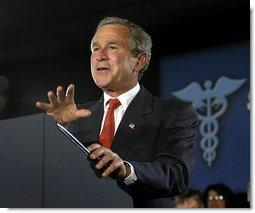 President George W. Bush addresses seniors about Medicare at New Britain General Hospital in New Britain, Conn., Thursday, June 12, 2003.  White House photo by Eric Draper