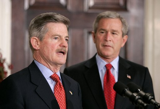 Ambassador Jim Nicholson addresses the press during President George W. Bush's announcement of Mr. Nicholson's nomination as the Secretary of Veterans Affairs in the Roosevelt Room Thursday, Dec. 9, 2004. White House photo by Eric Draper.