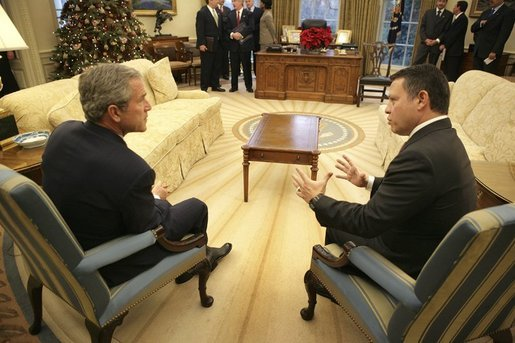 President George W. Bush meets with his Majesty King Abdullah of the Hashemite Kingdom of Jordan in the Oval Office, Monday, Dec. 6, 2004. White House photo by Eric Draper
