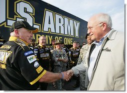 Vice President Dick Cheney meets members of the U.S. ARMY NASCAR racing team Saturday, July 1, 2006, while attending the 2006 Pepsi 400 NASCAR race at Daytona International Speedway in Daytona, Fla. White House photo by David Bohrer