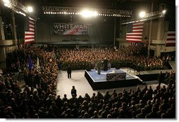 "Vice President Dick Cheney delivers remarks, Friday, October 27, 2006, during a rally for the troops at Whiteman Air Force Base, Missouri, home of the 509th Bomber Wing and the B-2 Stealth Bomber. ""There's no way I could overstate how impressed I am with your work, or how much it means to your country and to the cause of freedom,"" the Vice President said. ""To be with you, and to know all that you do each and every day, makes me even prouder to be an American.""  White House photo by David Bohrer"