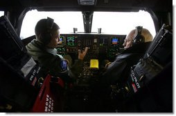 Vice President Dick Cheney sits inside the cockpit of a B-2 Stealth Bomber with pilot Capt. Luke Jayne during a visit to Whiteman Air Force Base in Missouri, Friday, October 27, 2006. While at Whiteman AFB the Vice President also participated in briefings and attended a rally with over 2,000 military troops and their families.  White House photo by David Bohrer