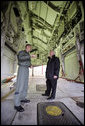 Vice President Dick Cheney stands in the bomb bay of a B-2 Stealth bomber with Lt. Col. Bill Eldridge, left, during a tour at Whiteman Air Force Base, Missouri, Friday, October 27, 2006. White House photo by David Bohrer
