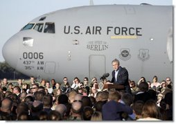 President George W. Bush address military personnel and their families at Charleston Air Force Base in Charleston, South Carolina on Saturday, October 28, 2006. White House photo by Paul Morse