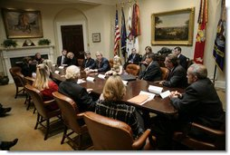 President George W. Bush meets with organizations that support the U.S. Military in Iraq and Afghanistan in the Roosevelt Room, Friday, October 20, 2006. White House photo by Eric Draper