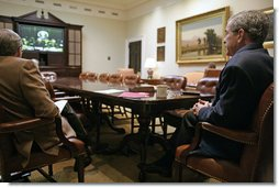 In a video teleconference between the White House and Baghdad, President George W. Bush talks with Iraqi Prime Minister Nouri al-Maliki Saturday, Oct. 28, 2006.  White House photo by Kimberlee Hewitt