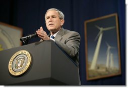 """President George W. Bush addresses the Renewable Energy Conference in St. Louis, Mo., Thursday, Oct. 12, 2006. The President discussed the development of new energy sources that reduce America's consumption of oil, such as hydrogen. """"Ultimately, in my judgment, one of the ways to make sure that we become fully less dependent on oil is through hydrogen. And we're spending $1.2 billion to encourage hydrogen fuel cells. It's coming, it's coming,"""" said the President. """"It's an interesting industry evolution, to think about your automobiles being powered by hydrogen, and the only emission is water vapor."""" White House photo by Eric Draper"""