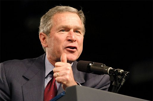 President George W. Bush speaks at the Louisiana Welcome in the Hirsch Coliseum at the State Fairgrounds of Louisiana in Shreveport, Dec. 3. White House photo by Eric Draper.
