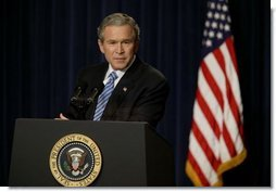 President George W. Bush holds a press conference in the Dwight D. Eisenhower Executive Office Building Monday, Dec. 15, 2003.   White House photo by Paul Morse