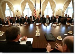 President George W. Bush speaks during his Cabinet Meeting, Thursday, Dec. 11, 2003.  White House photo by Eric Draper