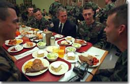 President George W. Bush has lunch with troops at Ft. Stewart in Savannah, Georgia on Tuesday February 12, 2001. (WHITE HOUSE PHOTO BY PAUL MORSE)