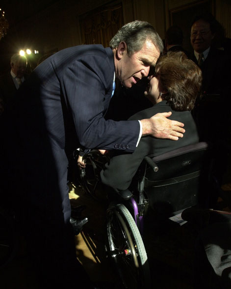 President George W. Bush at announcement of New Freedom Initiative.