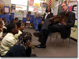 President George W. Bush reads to students at J.C. Nalle Elementary School in Washington, D.C. on February 9, 2001 (WHITE HOUSE PHOTO BY PAUL MORSE)