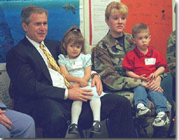 President George W. Bush at Youth Activities Center at Tyndall Air Force Base, Florida.