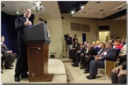 President Bush Speaks to Hispanic Chamber of Commerce.