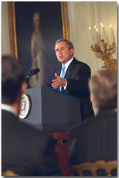 President Bush speaks to high tech leaders in the East Room. White House photo by Paul Morse.