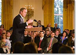 President Bush speaks to small business owners in the East Room of the White House.