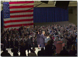 President George W. Bush speaks in front of the Southwest Michigan First Coalition/Kalamazoo Chamber of Commerce at Western Michigan University.