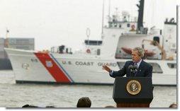 President George W. Bush discusses seaport and cargo security at the Port of Charleston, S.C., Feb. 5, 2004.  White House photo by Paul Morse