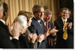 President George W. Bush attends the National Prayer Breakfast in Washington, D.C., Thursday, Feb. 5, 2004.  White House photo by Eric Draper