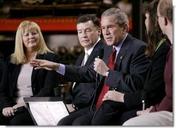 President George W. Bush speaks on stage during a conversation on the economy at SRC Automotive in Springfield, Mo., Monday, Feb. 9, 2004.  White House photo by Eric Draper
