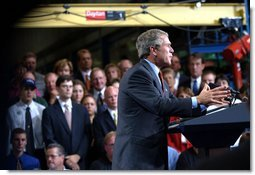 President George W. Bush delivers remarks on the budget at the Sears Manufacturing Company in Davenport , Iowa on Monday, September 16, 2002. White House photo by Tina Hager.