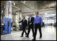 President George W. Bush tours Meyer Tool, Inc., in Cincinnati, with Sen. Mike DeWine (R-Ohio), left, and Beau Easton, the company's Director of Continuous Improvement during an Ohio stop Monday, Sept. 25, 2006. The President took the opportunity to deliver remarks on the U.S. economy, addressing its strength and how important small businesses are to the nation's economic vitality. White House photo by Paul Morse