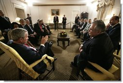 President George W. Bush meets with President Jalal Talabani of Iraq Tuesday, Sept. 19, 2006, during the President's visit to New York City for the United Nations General Assembly. White House photo by Eric Draper