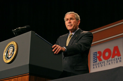 """President George W. Bush discusses the Global War on Terror during an address to the Reserve Officers Association Friday, Sept. 29, 2006. """"This is the call of a generation, to stand against the extremists and support moderate leaders across the broader Middle East, to help us all secure a future of peace,"""" said the President. White House photo by Eric Draper"""